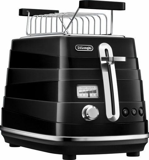De'Longhi Toaster Avvolta CTA 2103.BK, 2 kurze Schlitze, für 2 Scheiben, 900 W