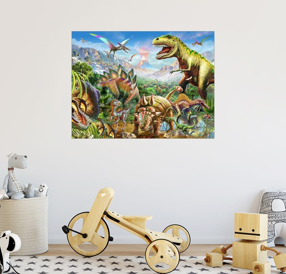 Posterlounge Wandbild - Adrian Chesterman »Welt der Dinosaurier« | Dekoration > Bilder und Rahmen > Bilder | Holz | Posterlounge