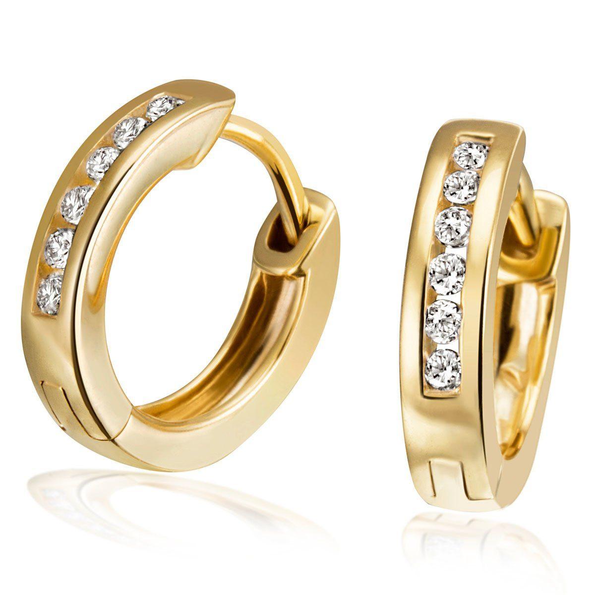 goldmaid Paar Ohrringe Gold 333 Creolen Klappcreolen Zirkonia