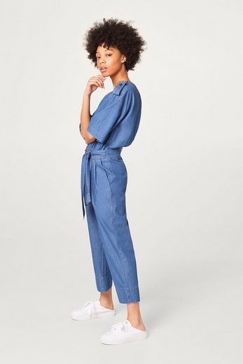 ESPRIT Baumwoll-Jumpsuit in Denim-Optik