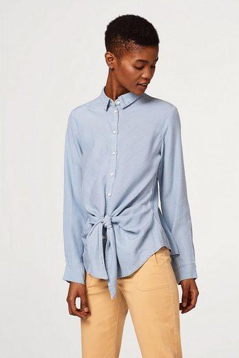 EDC BY ESPRIT Leichte Streifen-Bluse mit geknoteter Vorderseite