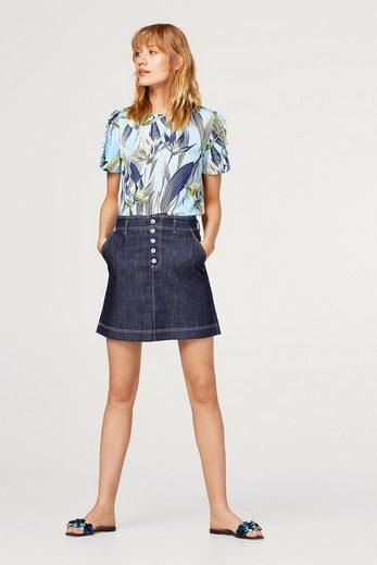 EDC BY ESPRIT Bluse mit Tropen-Print, aus glattem Baumwollgewebe