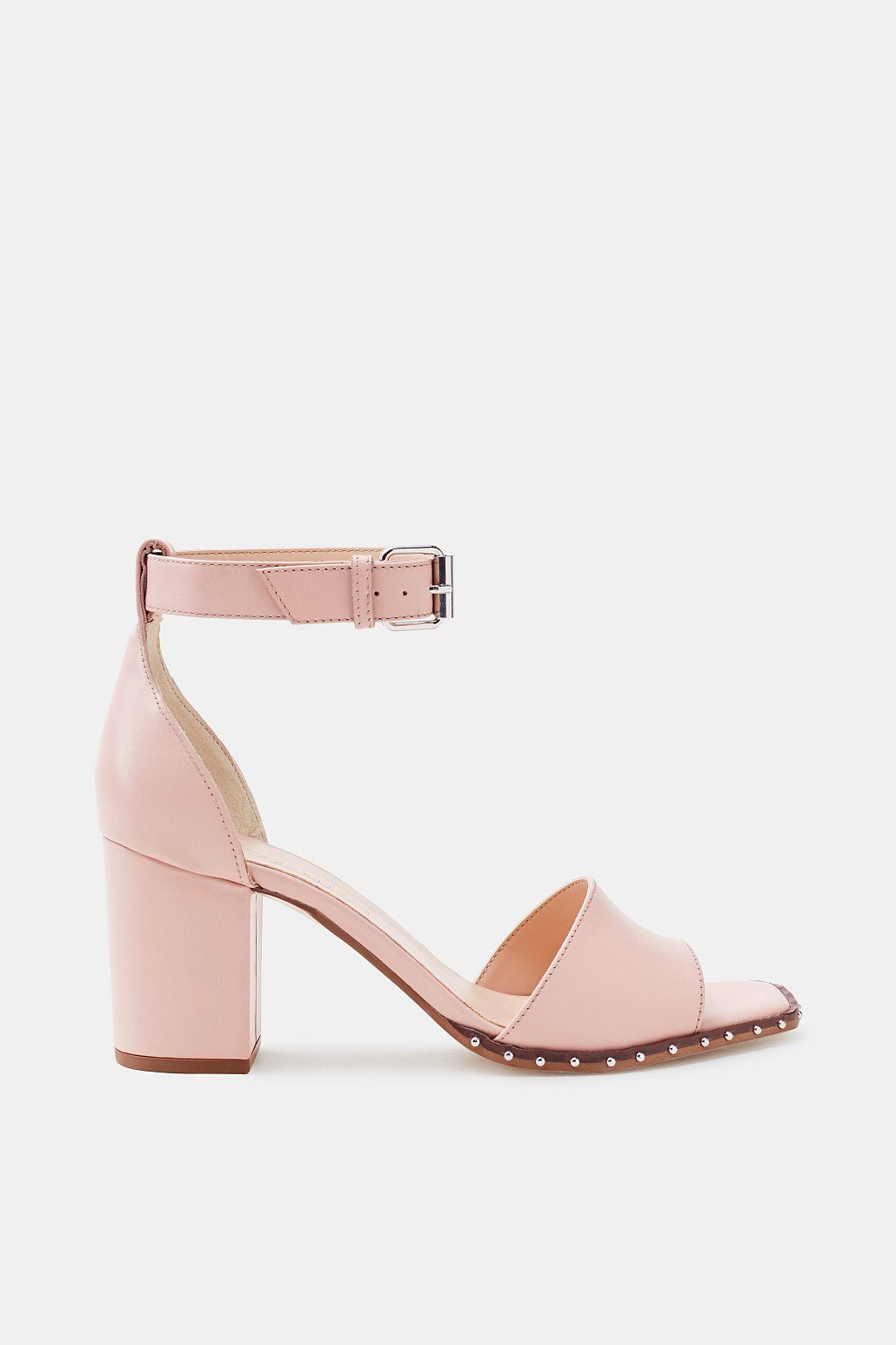 Esprit Leder-Sandalette mit Blockabsatz und Nieten-Dekor für Damen, Größe 39, Navy