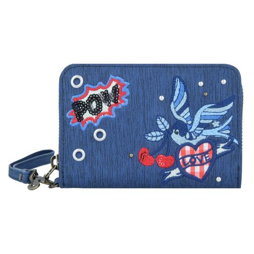 Desigual Denim Flowers Magnetic Geldbörse 14 cm