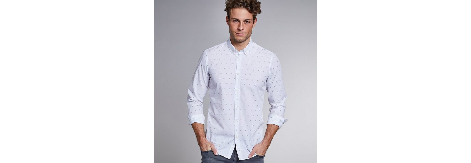 NEW IN TOWN Button-Down-Hemd mit Logoprint