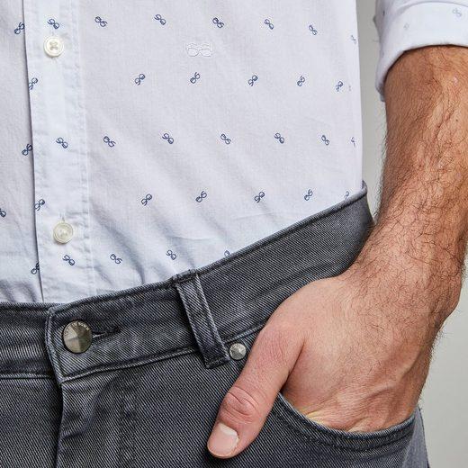 "NEW IN TOWN Button-Down-Hemd mit Logoprint ""Brille"""