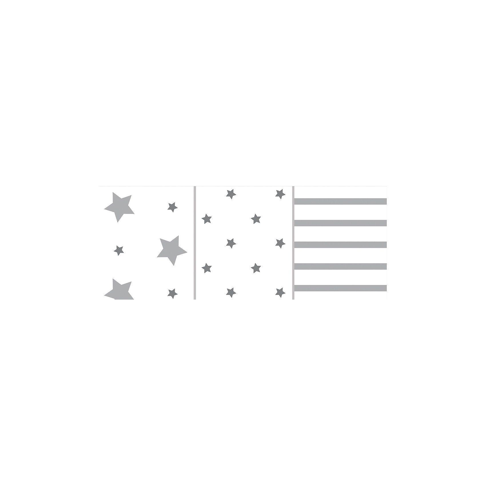 Odenwälder Mullwindeln Sterne und Streifen, 3er Pack, hell grau, 80 x 8