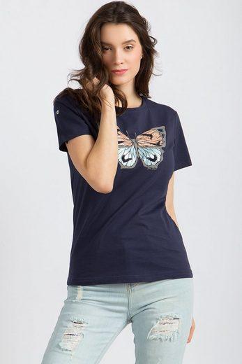 Finn Flare T-Shirt mit femininem Schmetterlings-Druck