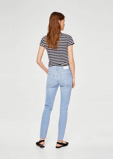 Mango Skinny Jeans Olive En Coton Biologique