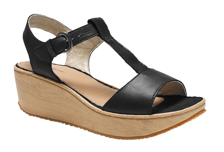 Eddie Bauer Kara Sandale mit Keilabsatz in Holzoptik online kaufen  Schwarz