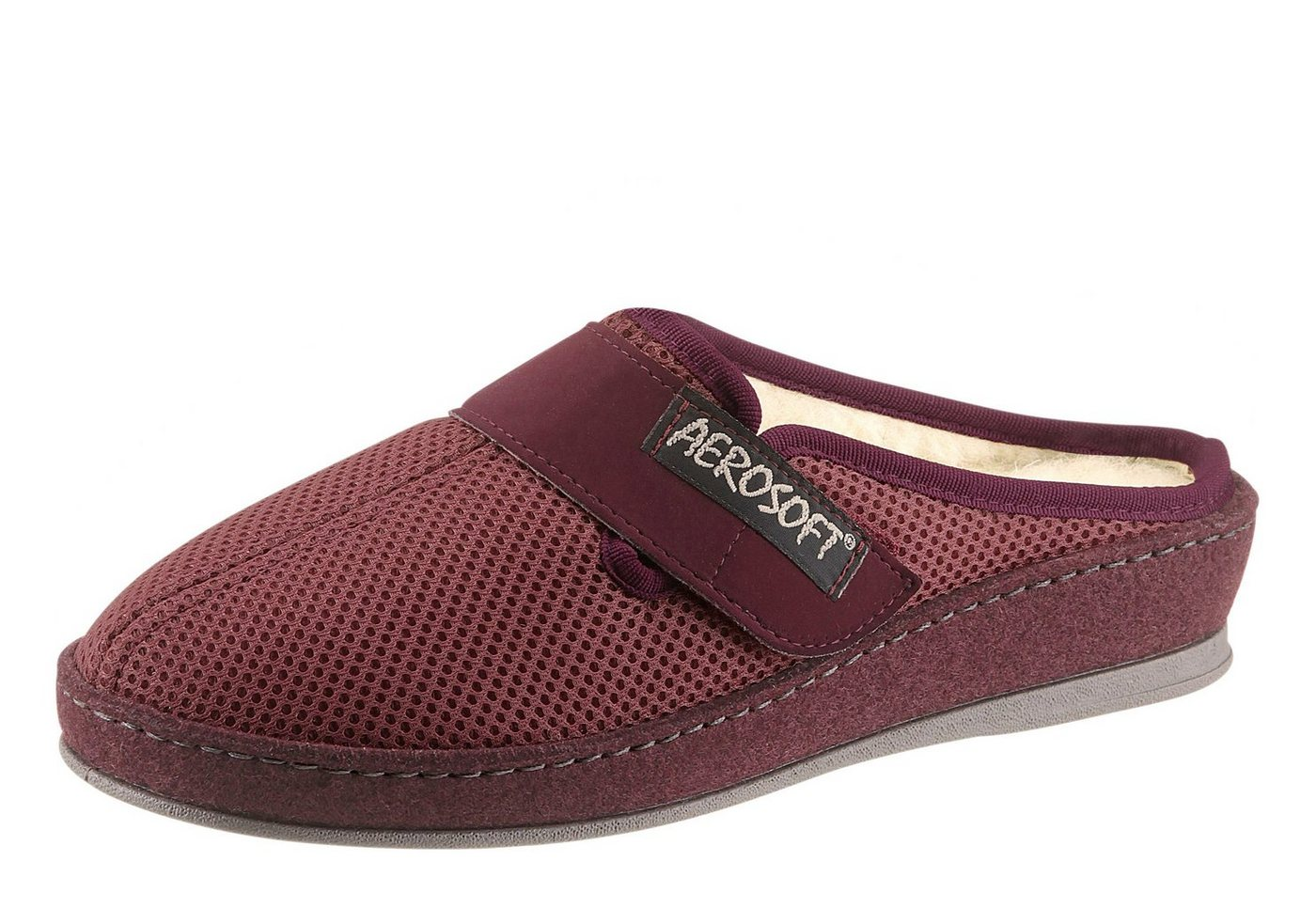 Aerosoft Pantoffel mit flexibler und rutschhemmender PVC-Laufsohle   Schuhe > Hausschuhe > Pantoffeln   Rot   Schurwolle - Pvc   aerosoft