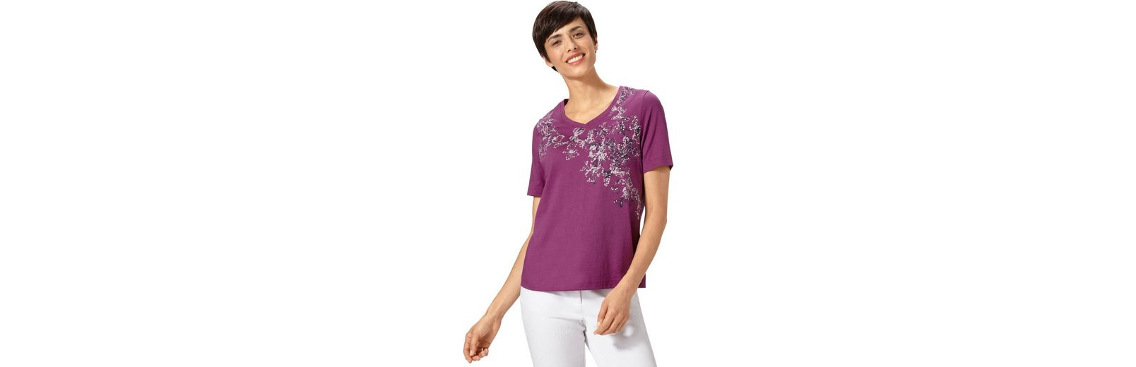 Classic Basics Shirt mit Bl眉tenmuster