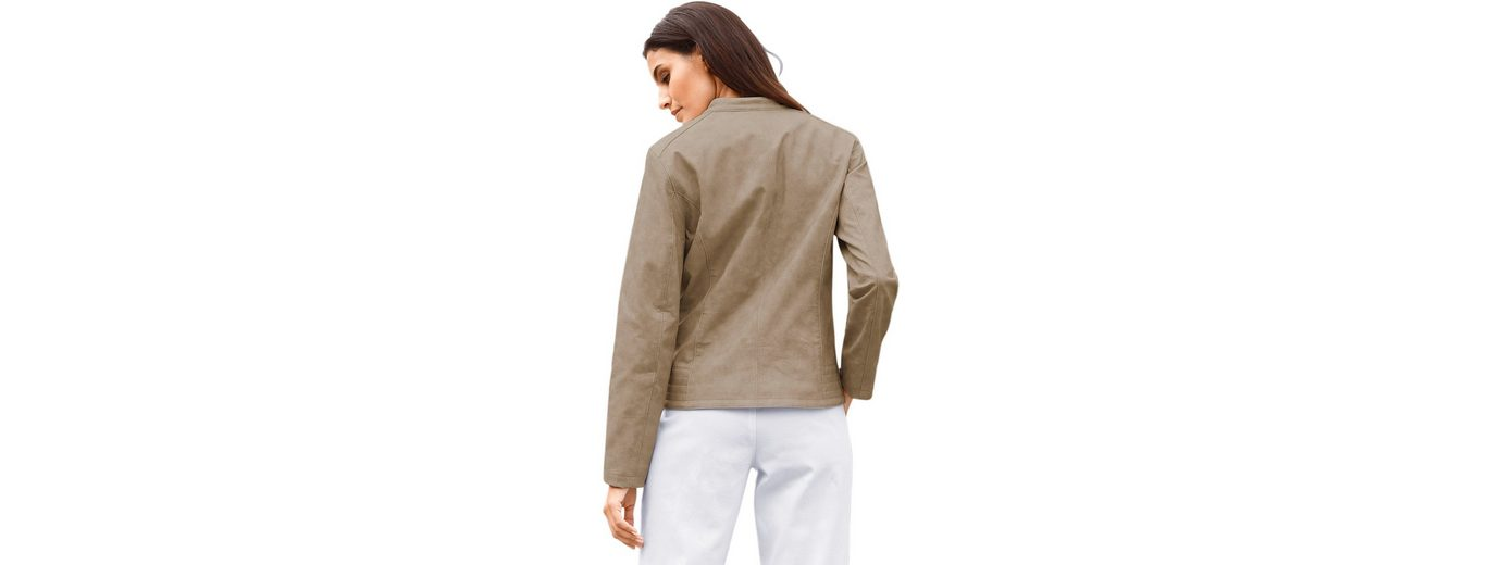 Classic Inspirationen Lederimitat-Blazer mit dekorativen Ziernähten an den Schultern Rabatt Sehr Billig TsrO3eBp