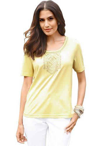 Damen Classic Inspirationen Shirt mit aufwändiger Stickerei gelb | 08907682012784
