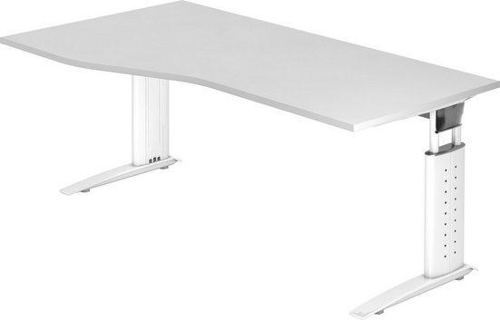 bümö Schreibtisch »OM-US18-W«, höhenverstellbar - Nierenform: 180x100 cm - Gestell: Weiß, Dekor: Weiß
