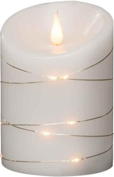 KONSTSMIDE LED-Kerze (1-tlg), LED Echtwachskerze, weiß, mit 3D Flamme und silberfarbenem Draht umwickelt