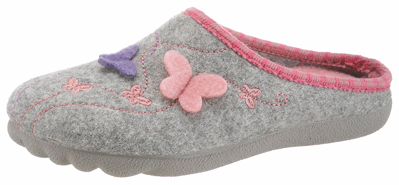 Maybe Pantoffel, mit Schmetterlingmotiv kaufen  hellgrau-rosa