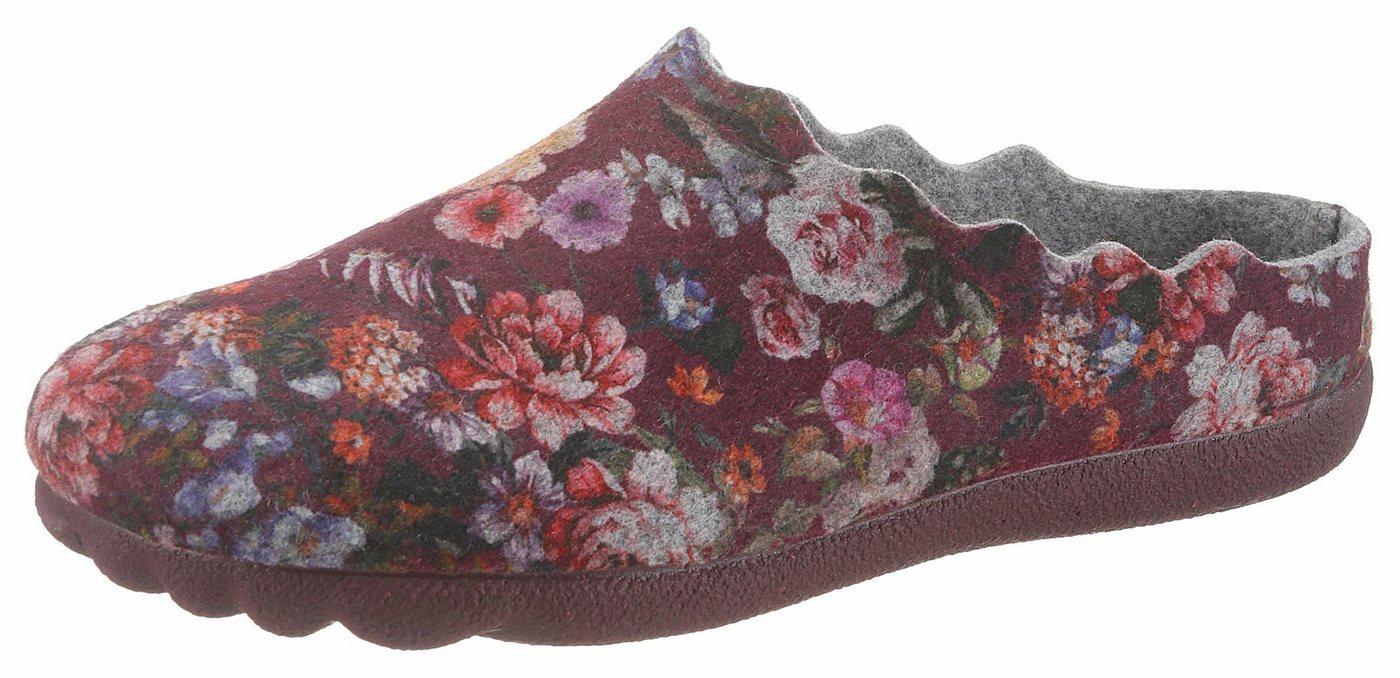 thies Pantoffel mit angesagtem Blütendruck   Schuhe > Hausschuhe > Pantoffeln   Rot   Filz   thies