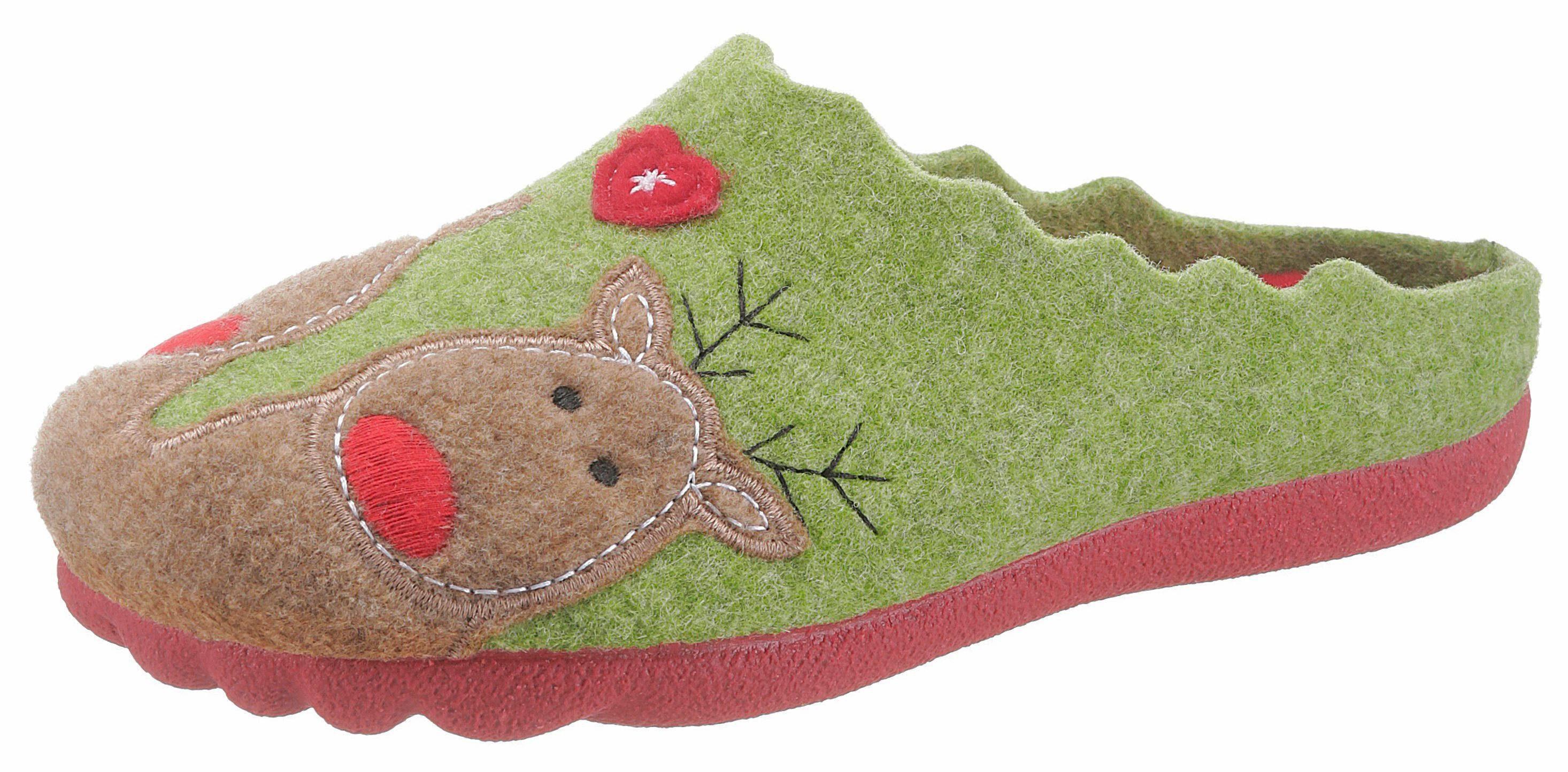 Maybe Pantoffel, mit Hirschmotiv online kaufen  grün-taupe-rot