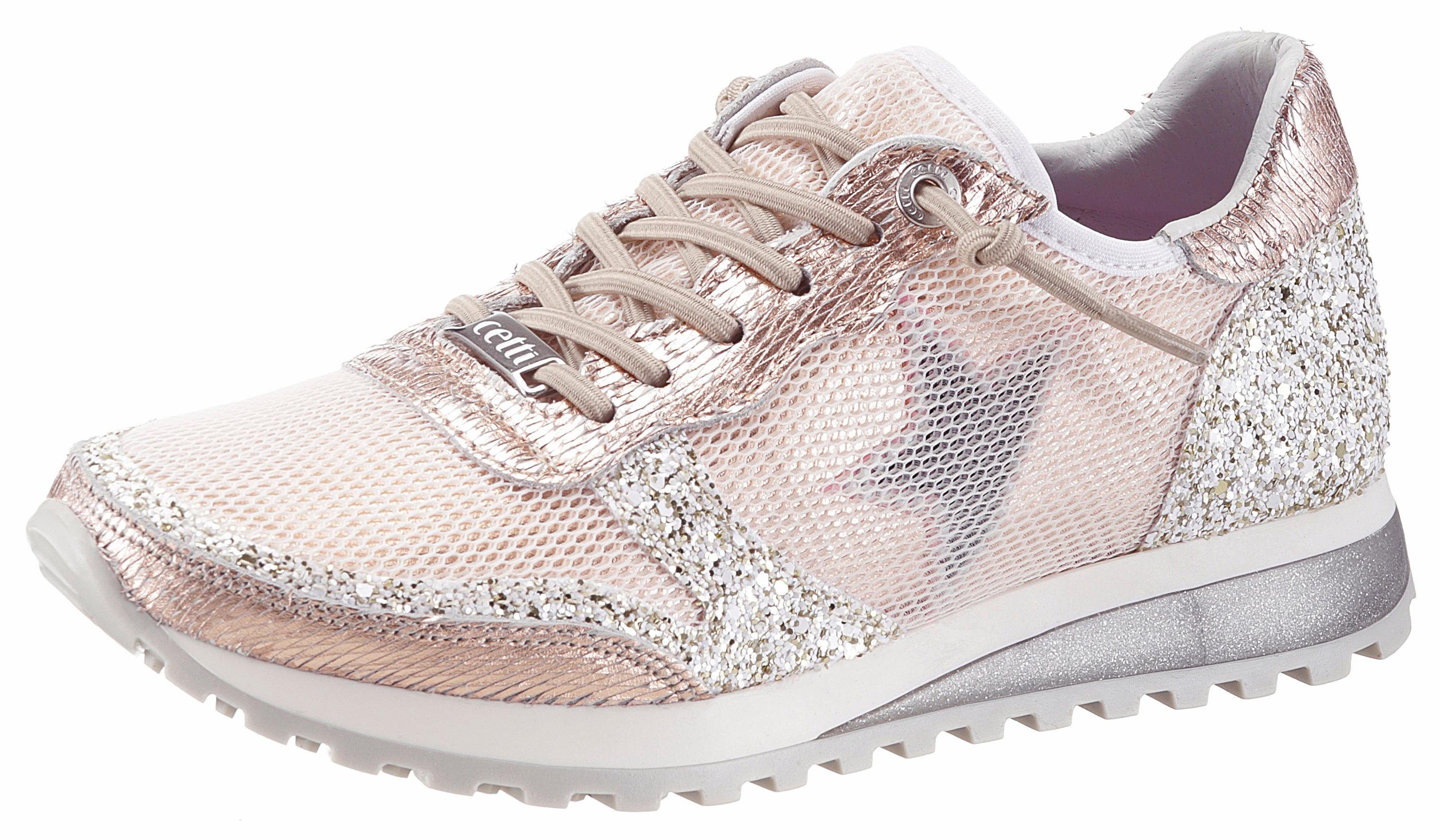 Cetti Slip-On Sneaker, in aufwendiger Verarbeitung  goldfarben-weiß