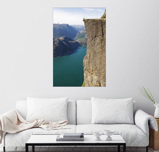 Posterlounge Wandbild - Christian Kober »Mann auf dem Preikestolen, Lysefjord«