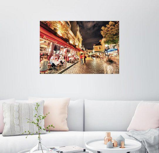 Posterlounge Wandbild »Straßen von Montmartre bei Nacht«