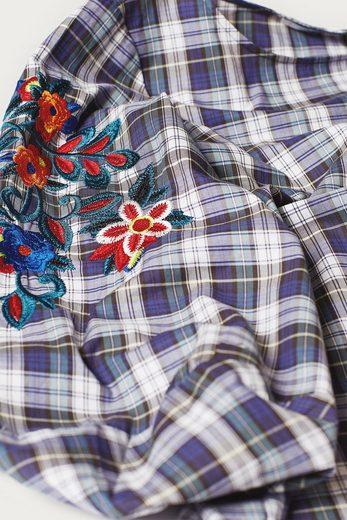 EDC BY ESPRIT Baumwoll-Karo-Bluse mit Stickerei