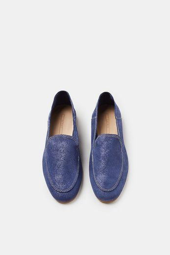 Esprit Loafer On Napped Leather With Glitter-finish