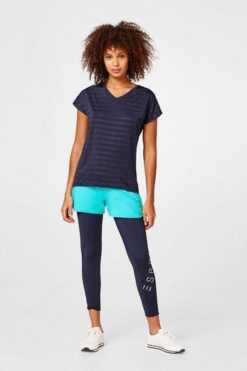 ESPRIT Shirt mit luftigen Struktur-Ringeln, E-DRY