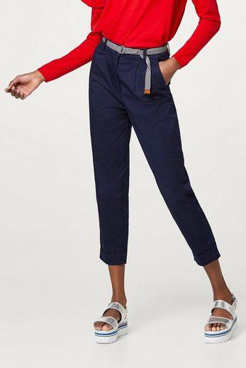 ESPRIT Verkürzte Hose aus Baumwoll-Mix, mit Gürtel