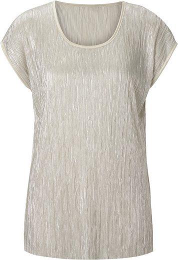 Lady Shirt in silberfarbig schimmernder Plissee-Qualität