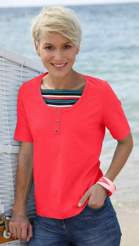 Damen Collection L. Shirt mit gestreiftem Einsatz orange | 05205012301137