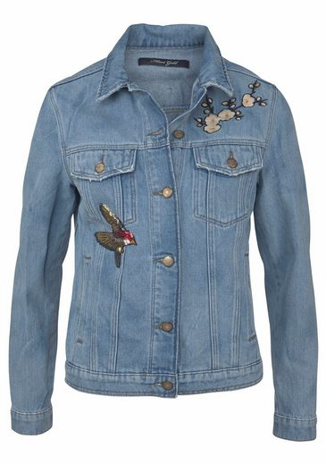 Mavi Jeans Jeansjacke KATY, mit Stickereien in Badge Optik