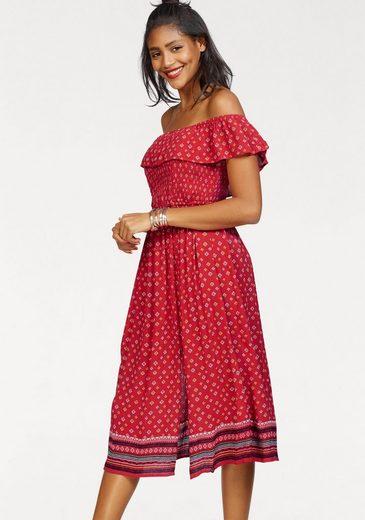 Superdry Off-Shoulder-Kleid »RUFFLE SMOCKED DRESS« im Ethno-Look