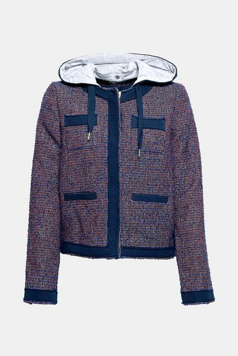 EDC BY ESPRIT Jacquard-Hoody mit Wolle