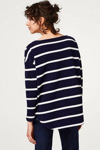 EDC BY ESPRIT Gestreifter Sweater mit Knöpfen