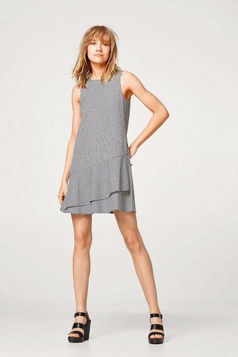 EDC BY ESPRIT Karo-Kleid mit Volantsaum