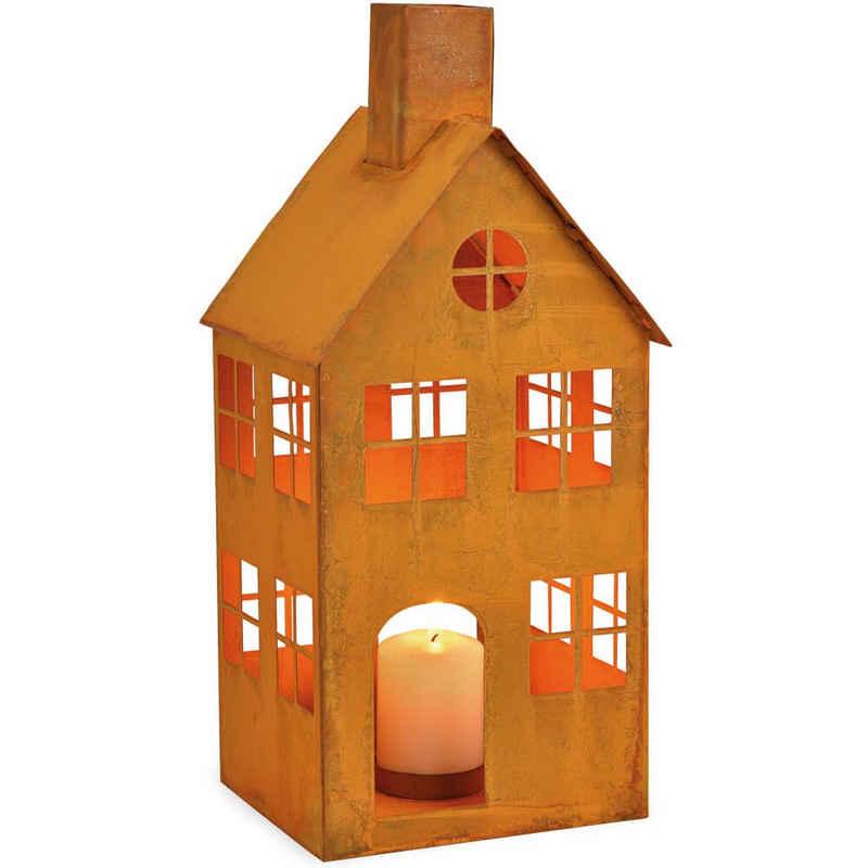 matches21 HOME & HOBBY Kerzenständer »Haus mit Fenstern Windlicht Metall Rostoptik 1 Stk 16x36 cm«