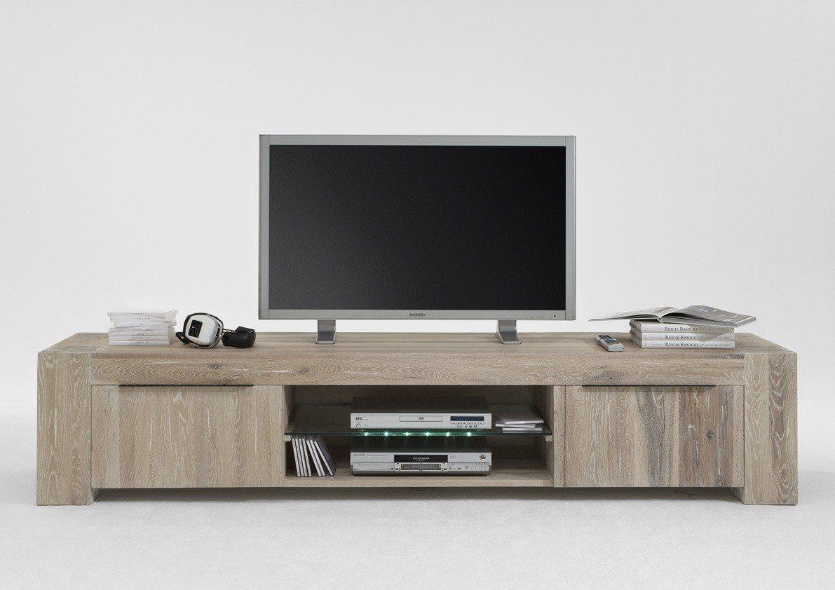 Kasper-Wohndesign  TV-Board Massivholz white wash mit oder ohne Beleuchtung Memoria braun | 04250385968327