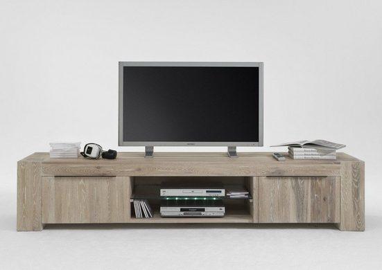 Kasper-Wohndesign TV-Board Massivholz white wash mit oder ohne Beleuchtung »Memoria«