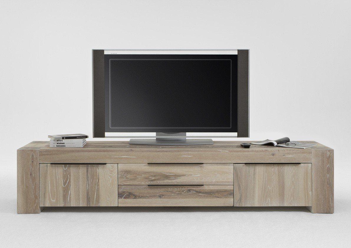 Kasper-Wohndesign  TV-Board 2 Schubladen Massivholz Eiche white wash Memoria braun | 04250385968334