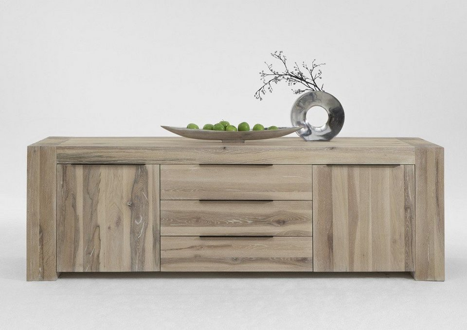 kasper wohndesign sideboard massivholz eiche white wash memoria online kaufen otto. Black Bedroom Furniture Sets. Home Design Ideas