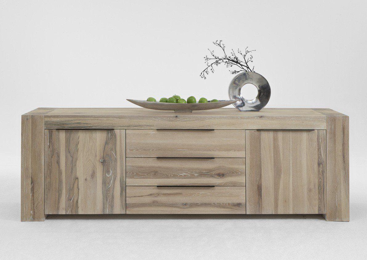 Kasper-Wohndesign Sideboard Massivholz Eiche white wash »Memoria«