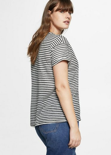 Violeta By Mango Striped Shirt With Embroidery