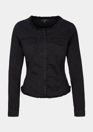 COMMA Black-Denim Jeansjacke mit Zierfransen
