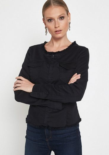 COMMA Black-Denim Jeansjacke mit Zierfransen