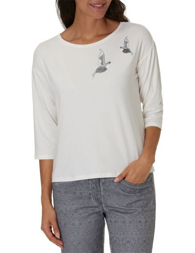 Betty Barclay Shirt With Bird Motif And Round Neck