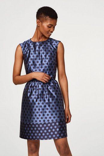 ESPRIT COLLECTION Kleid mit Jacquard-Tupfen und feinem Glanz