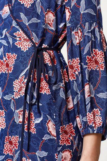 ESPRIT Leichtes Kimono-Kleid mit Wickeleffekt und Print