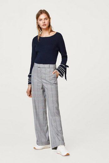 ESPRIT Ripp-Pullover mit Trompetenärmeln, 100% Baumwolle